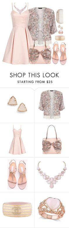 """""""Pale pink outfit"""" by cupcakedream21 ❤ liked on Polyvore featuring Kendra Scott, Dorothy Perkins, Girls On Film, Betsey Johnson, Humble Chic, Chanel, Allurez and HAY"""