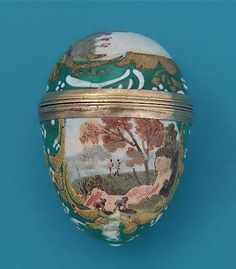 18TH CENTURY ENAMEL ON GILT METAL EGG-FORM BOX ; M. Ford Creech Antiques