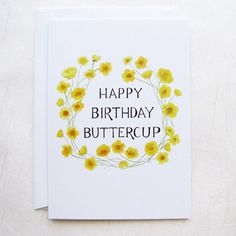 Buttercup Birthday Illustrated Greeting Card by yardia on Etsy