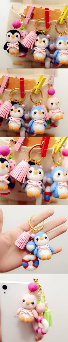 Handmade Needle felted felting animal cute penguins keychain felted wool doll