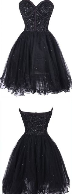Black Beading Tulle Homecoming Dress,Sexy Party Dress,Charming Homecoming Dress,Graduation Dress,Homecoming Dress