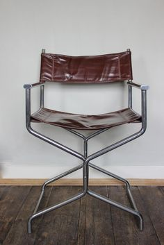 1970s/ 80s Spanish Folding Desk chair in Chrome and leather.