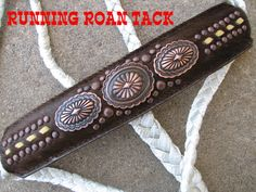 Brown Cowhide Mule Tape Halter with Navajo Conchos and Tan Buckstitch by Running Roan Tack Lack, Horse Halters, Western Art, Dog Collars, Horse Stuff, Horse Tack, Saddles, Farm Life, Life Goals