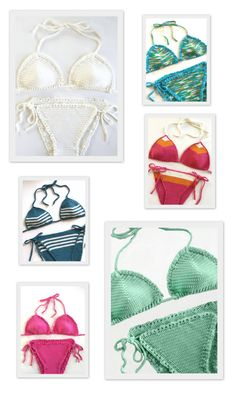 Crochet Bikini Pattern ♥ This very cheeky Brazilian cut bikini pattern was designed to be easy and fun to make. Make it in your favorite colors, add stripes, and choose from 3 different borders (plain, small ruffle, and eyelet). After making one you will want to make more! ♥ Pattern by Deborah O'Leary Patterns