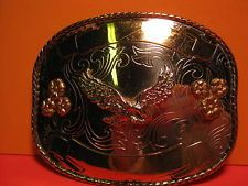 EAGLE Belt Buckle with 2 Banners GERMAN SILVER USA Made FREE SHIP & MAKE OFFER $85.50 or Best Offer Free shipping