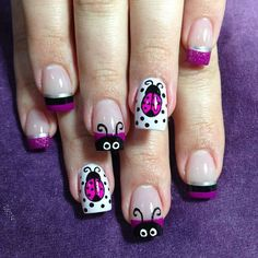 Lady Bugs by NailsliciousSpa - Nail Art Gallery by Nails Magazine Get Nails, Fancy Nails, Pretty Nails, Hair And Nails, Girls Nails, Nails For Kids, Spring Nail Art, Spring Nails, Ladybug Nails