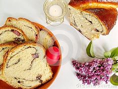 Photo about Traditional Romanian Easter sweet bread named cozonac. With red egg on a plate and a candle. Image of cookies, bread, baked - 111821163 Cookie Images, Pastry And Bakery, Sweet Bread, Camembert Cheese, Banana Bread, French Toast, Easter, Candles, Cookies