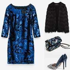 Blue sequinned mini dress party outfit. Zara 2016 winter collection blue mini dress, fringed black jacket, blue high heel shoes and blue crossbody bag.