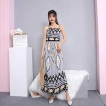 27151001c826 Maxi Dress Bohemian Styled Vintage Sleeveless Printed Slip Dress With Braid  Shoulder Straps For Women. New Arrivals - DealeXtreme