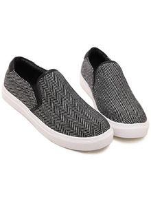 Black Round Toe Contrast PU Leather Flats -SheIn(Sheinside)