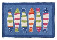 Picket Fish Blue Hooked Area Rug