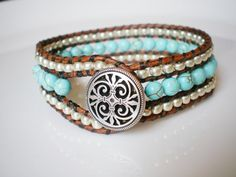 Turquoise Single Leather Wrap Bracelet Cuff by RopesofPearls, $46.00