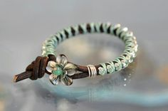 This mint chocolate chip deluxe glitzy glam bracelet is making me think about ice cream! (Location: The Bead Gallery Honolulu)