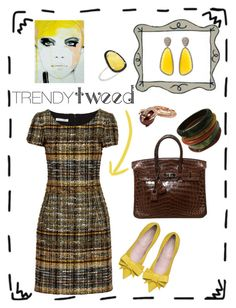 """Tweed"" by marcellakretsch ❤ liked on Polyvore featuring Oscar de la Renta, Hermès, Christina Debs, Skyler Man, women's clothing, women, female, woman, misses and juniors"