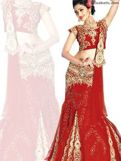 Bridal Red Net Lehenga available at Goodbells in just $520.00. Click here to buy: http://goodbells.com/indian-lehenga/bridal-red-net-lehenga.html?utm_source=pinterest_medium=link_campaign=pin20juneR27P59