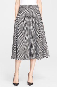 Houndstooth A-Line Midi Skirt