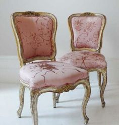 gilded french chairs covered with fabric from carolyn quartermaine's 'flowers' collection