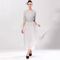 Women's Vintage / Casual / Work / Maxi Solid A Line / Swing Dress , Round Neck Maxi Chiffon / Organza - USD $34.99