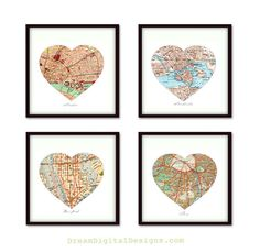 This is such a cute idea! Framed maps of the cities that have special meaning to you. For example; your hometown, his hometown, the town you got married and the town you currently live. Isn't it the best? It would make a great wedding gift as well.