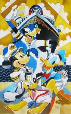 """The Crew is Here"" By Tim Rogerson - Original Oil on Canvas, 48 x 30.  #Disney #DisneyFineArt #DisneyCruise #MickeyMouse #DonaldDuck #Goofy #TimRogerson"