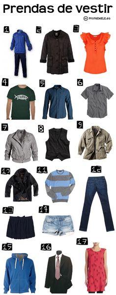 Vocabulario de la ropa (Nivel A2) ~ u online para practicar con imágenes el léxico de la ropa (prendas de vestir) | ProfeDeELE.es