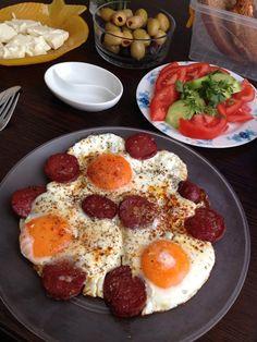 Sucuklu yumurta, a popular Turkish dish at breakfast.