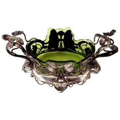 WMF Koehler Art Nouveau Flower Dish Jardiniére Original Glass Liner, circa 1905   From a unique collection of antique and modern centerpieces at https://www.1stdibs.com/furniture/dining-entertaining/centerpieces/