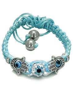 Purchase Evil Eye Protection Amulet and Magic Eye Hamsa Hands Sky Blue Knotted Cord Adjustable Bracelet with Hematite Gems Power Beads from BestAmulets on OpenSky. Share and compare all Jewelry. Hand Bracelet, Evil Eye Bracelet, Cord Bracelets, Bracelet Sizes, Bangles, Charming Eyes, Magic Eyes, Hamsa Hand, Adjustable Bracelet