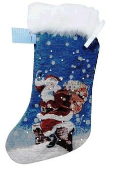 Lightahead SANTA'S HERE FIBER OPTIC BLINKING CHRISTMAS STOCKING 28 x 48cm WITH FURRY TOP .GREAT CHRISTMAS DECORATION AND GIFT => Amazing product just a click away  : Home Decor Collectible Figurines