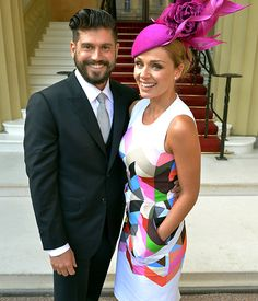 Katherine Jenkins goes public with Andrew Levitas as she gets an OBE Standing out: Katherine opted for a dress with a bright geometric pattern and a fuschia hat as she posed with Andrew outside the Palace Race Day Outfits, Derby Outfits, Nice Outfits, Race Day Fashion, Races Fashion, Gothic Fashion, Victorian Fashion, Fashion Fashion, Kentucky Derby Fashion