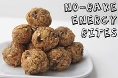 Healthy NO-Bake Energy Bites  Ingredients:  -1 cup oatmeal  -1/2 cup peanut butter (or other nut butter)  -1/3 cup honey  -1 cup coconut flakes  -1/2 cup ground flaxseed  -1/2 cup mini chocolate chips  -1 tsp vanilla  Mix everything above in a medium bowl until thoroughly incorporated. Let chill in the refrigerator for half an hour. Once chilled, roll into balls and enjoy! Store in an airtight container and keep refrigerated for up to 1 week.