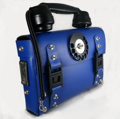 unusual unique Steampunk blue leather womens bag by hitekdesigns, $240.00