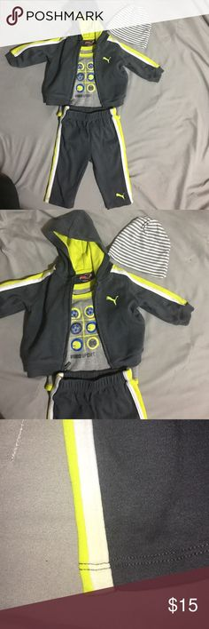 Neon green/yellow and gray  puma sweat outfit Size 3-6 months puma sweat outfit gently used small stain barley noticeable on the bottom of one side of the pants as seen in picture other than that no other stains comes with hat and ready to be shipped:) Puma Matching Sets