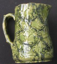 SUPERB EXAMPLE of Old GREEN YELLOWARE / Spongeware PITCHER with Embossed Design.