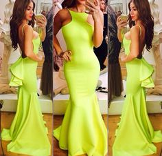 Backless Prom Dress Sexy Prom Dress Yellow Mermaid Prom by 214EVER, $179.99