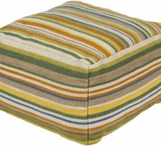 Multicolored wool pouf ottoman