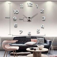 New D Spiegel Wand uhr XXL Edelstahl Wandtattoo Wandbild Wohnzimmer DEKO NEU