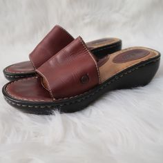 131bfb364ad8 Born Women s Size 7 Brown Cognac Leather Slide Slip On Sandals  fashion   clothing