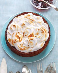 Passover Dessert Recipes | Martha Stewart Living - To make this (or any) recipe kosher for a Passover meal that includes meat, substitute kosher pareve margarine for butter. Then wow your guests with this gorgeous cake that hits a cherry note with each bite, thanks to kirsch liqueur and a layer of preserves.
