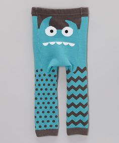 Teal Monster Face Leggings - Infant | Daily deals for moms, babies and kids