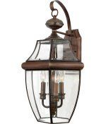 Quoizel NY8318AC Newbury 3 Light Outdoor Wall Light in Aged Copper with Clear Beveled Glass glass - Solid Brass by Quoizel. $198.99. Traditional Outdoor Wall Light in Aged Copper with Clear Beveled Glass glass from the Newbury Collection by Quoizel. Dimensions: 22.50 H 12.50 W 11.50 E - Solid Brass - NY8318AC