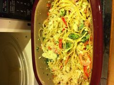Chicken  Pasta Primavera made in the microwave using Pampered Chef's Deep Covered Baker.
