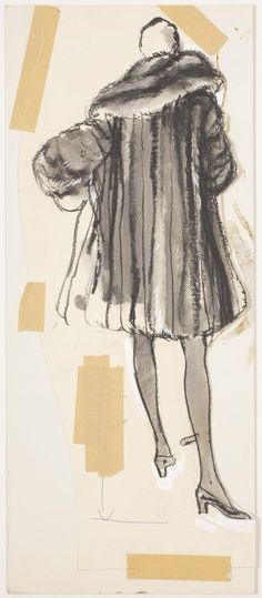 New School Archives: Digital Collections: Drawing/Painting/Print: Fur Swing Coat with Oversized Collar [KA002201_OSxxx1_f12_01]