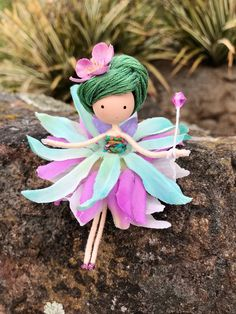 Excited to share the latest addition to my #etsy shop: Green Spring Flower Fairy Doll, Easter Bendy Wire Doll, Miniature Fairy Doll, Fairy Rag Doll, Fairy Gift Ideas, Enchanted Forest, Ballerina