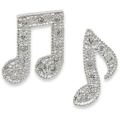 Unwritten Sterling Silver Earrings, Crystal Accent Music Note Earrings ($58) ❤ liked on Polyvore featuring jewelry, earrings, accessories, music, bijoux, sterling silver jewellery, sterling silver jewelry, earrings jewelry and sterling silver earrings