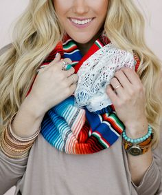 Red & Green Lace Serape Infinity Scarf $49.99