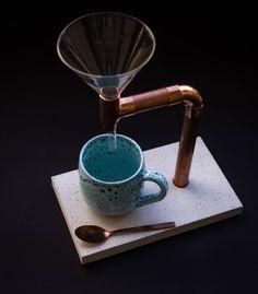 Küchengeräte & -helfer - Kaffee Brüher Beton, Kupfer, Glas, inkl. Löffel - ein Designerstück von Merci-cherie bei DaWanda