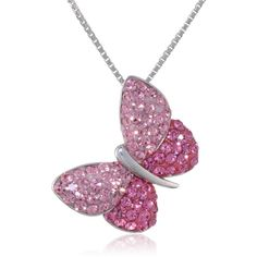Sterling Silver Light and Dark Pink Crystal Butterfly Pendant... ($29) ❤ liked on Polyvore featuring jewelry, necklaces, crystal butterfly necklace, sterling silver jewellery, butterfly necklace, crystal jewelry and butterfly jewelry