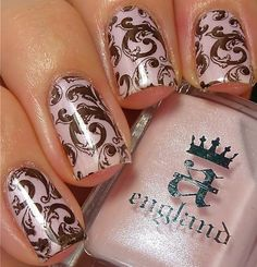 a-england, base colour 'Iseult' stamped with 'Camelot' using Lealac xl-B ~ swatch by Pinpoint Polish