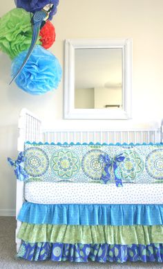 Custom Designer Crib Bedding 3 piece: Bumper, fitted sheet, 3 tier ruffled skirt.. $299.00, via Etsy.